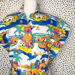 Vintage tropical print cotton button down